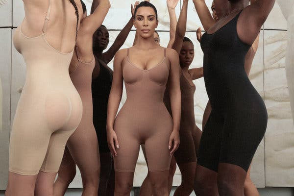 Kim Kardashian and models wear bodysuits from her new clothing line. Photo: Reuters